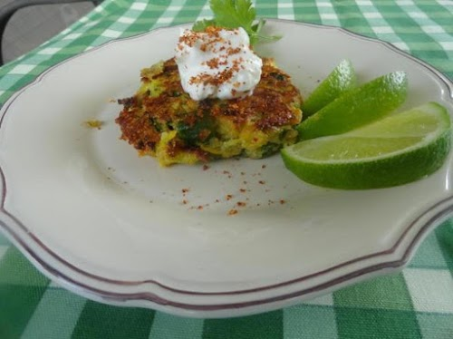 "Country Garden Fritters with Chili Lemon Cream ""These quick and easy fritters..."