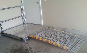 Photo: Platform outside door allows for a 90-degree turn.