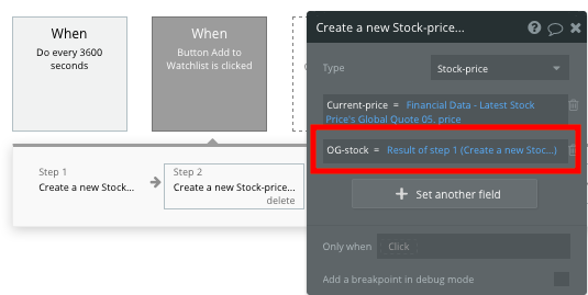 Connecting a stock to a real-time price in a no-code Apple Stocks clone app
