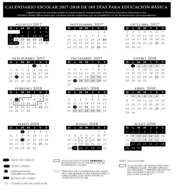 Calendario SEP 185 días, Ciclo escolar 2017-2018