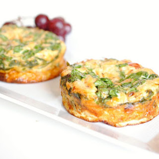 Salmon and Spinach Individual Crustless Quiche.