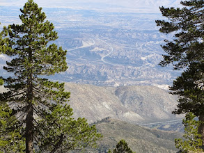 Photo: View northeast from the summit of Pine Mt. toward the Cajon Pass, the I-15 Freeway, and the Mojave desert beyond