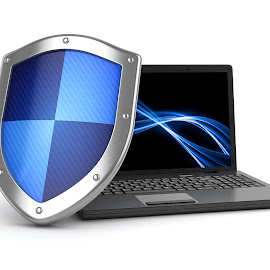 Laptop and shield by Adem Percem - Illustration Products & Objects ( computer, insurance, concept, technology, illustration, data, virus, secure, security, protect, hacker, solution, password, software, guard, laptop, protection, icon, isolated, safe, screen, monitor, symbol, firewall, white, lock, privacy, cyberspace, render, antivirus, system, safety, blue, 3d, shield, internet )