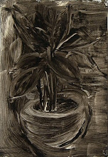 """Photo: 'The House Plant, 2', 1st draft, 21cm x  29cm, 8"""" x 11.5"""", 2012, Moleskine folio Sketchbook, oils.   A meditation in ink on the plant, which withdraws its essence into its own mystery even as it offers its vibrancy. Today I used an acrylic base and oil paints.   This is the same house plant as in the previous image; it is on my dining room table."""