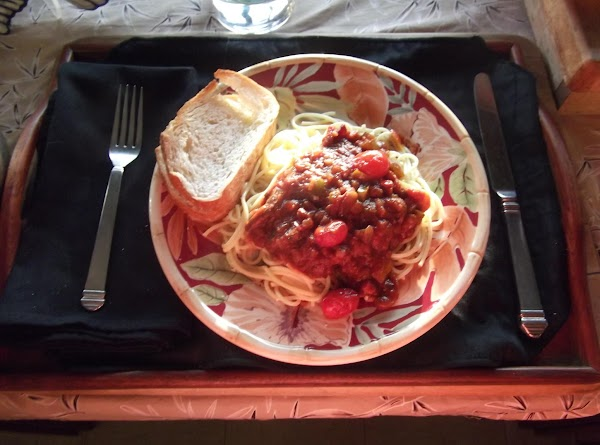 Serve sauce over hot pasta with a nice salad and hot crusty sourdough bread...