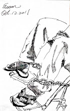 Photo: 代價2011.10.12鋼筆 客戶跟我說著他的故事:當年被刑事組追捕時,警察對他身旁開槍威嚇,卻因他自己閃躲,反而因此肚子中槍,之後經過十四次手術,命是終於救回來了,數週後卻發現最後一次手術竟留了把鑷子在肚子裡,現在不論怎麼找求診,得到的答案都是拿出鑷子的手術成功機率很低,預測最好的情況是人工肛門過一輩子,要不就是敗血症死亡,每個醫生都勸他不要開刀,就和它共處一生… 我不禁想著:這些苦難是犯罪的代價或是活下來的代價…