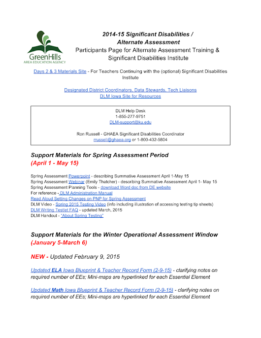 Alternate Assessment / Significant Disabilities Participant Page 14-15
