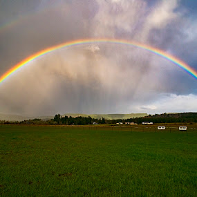 Our Only View of the Sun by Sparty Rodgers - Landscapes Weather ( western washington state, d800, 20mm f2.8 ais, pacific northwest, landscapes, rainbow, sun, rain )