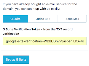 The TXT verification record is entered into the text field.