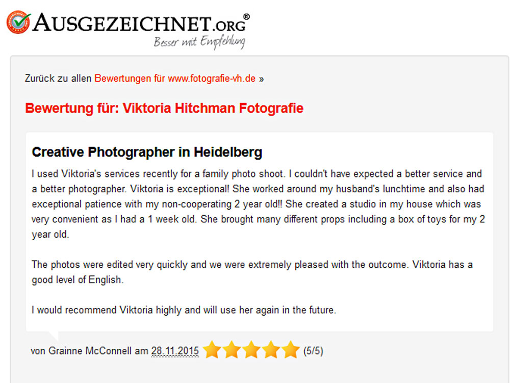 Evaluation fro Viktoria Hitchman Fotografie.