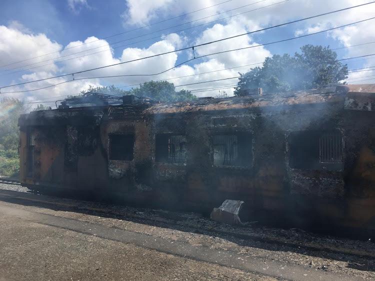 The remains of the train that was set on fire in Firgrove, near Somerset West on September 28 2018