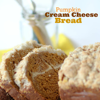 Pumpkin Cream Cheese Bread with Crumb Topping.