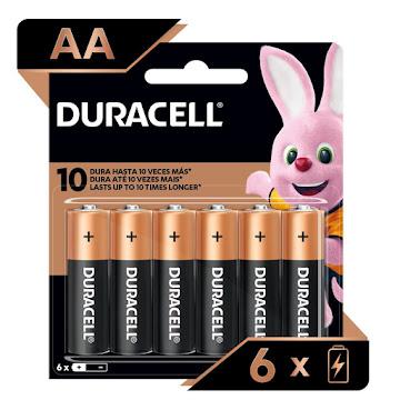 Pilas Duracell Alcalinas AA paquete de 6 unidades