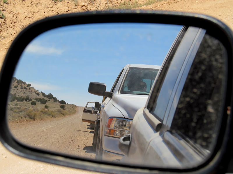 Photo: Convoy in the side view mirror