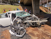 The wreckage of the Toyota Corolla Bosasa boss Gavin Watson was driving when he crashed into a concrete pillar within the precinct of OR Tambo International Airport on Monday.