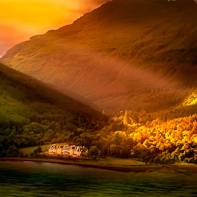 Tarbet by Angel Weller - Landscapes Mountains & Hills ( scotland, sunburst, mountains, trees, lake )