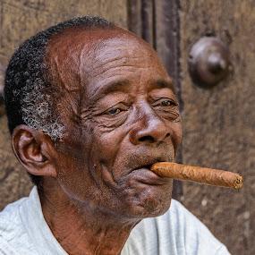 Man with Cigar by Giancarlo Bisone - People Portraits of Men ( cigar, senior citizen, travel, havana, man, cuba )