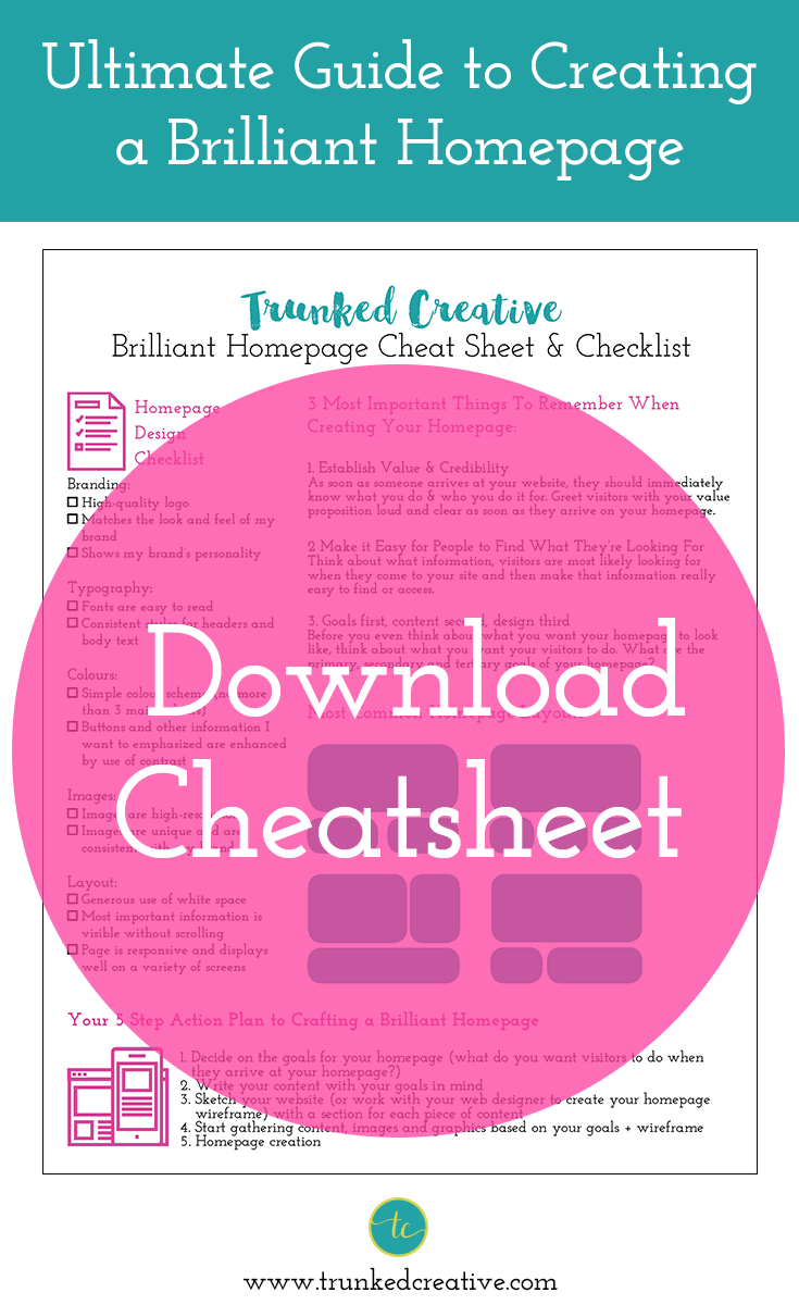 ultimate guide to creating a brilliant homepage cheat sheet pin it