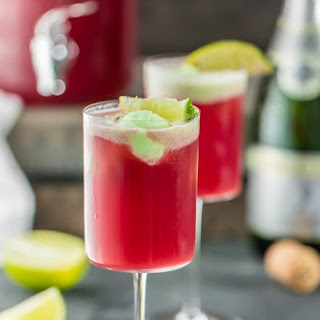 Cranberry Limeade Holiday Champagne Punch.