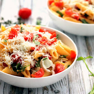 Caprese Pasta with Goats Cheese.