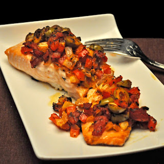 Baked Salmon with Red Pepper Relish