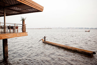 Photo: The view across the Congo river to the DRC from Mami Wata, a riverside bar and restaurant.