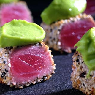 Sesame & Black Pepper Crusted Tuna with Wasabi-Spiked Avocado Puree.