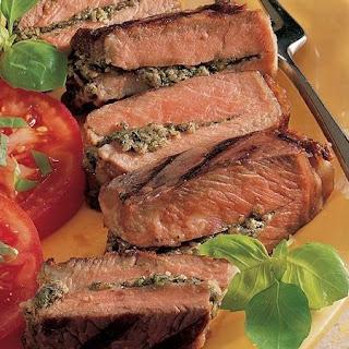Grilled Pesto-Stuffed Steaks.