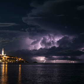Rovinj and a distant storm by Jernej Lipovec - Landscapes Weather ( sony, lightning, autumn, croatia, sea, weather, citylights, rovinj )