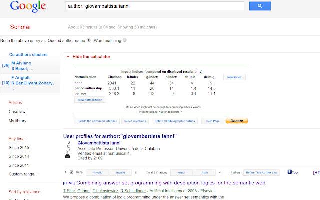 Scholar H-Index Calculator for Google Chrome™
