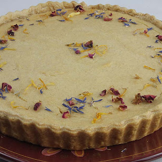Sweet Parsnip Pie with Edible Flower Petals.