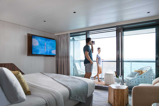 Wake up In the morning to a stunning view from the Sky Suite on Celebrity Flora.