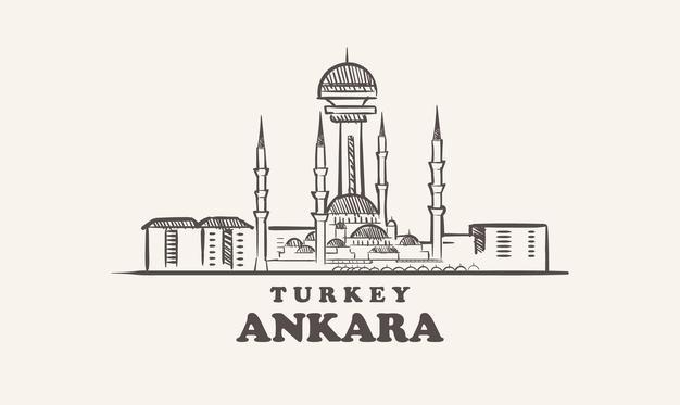 Ankara cityscape sketch hand drawn  turkey   illustration Premium Vector