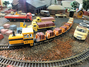 Photo: 022 The Minitrains flat wagons with end boards are ideal vehicles to carry the bricks on .