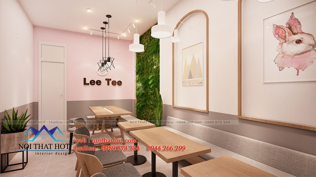 thiết kế cửa hàng trà sữa