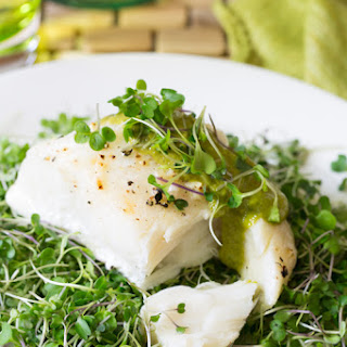 Roasted Halibut with Microgreen Cashew Puree Recipe
