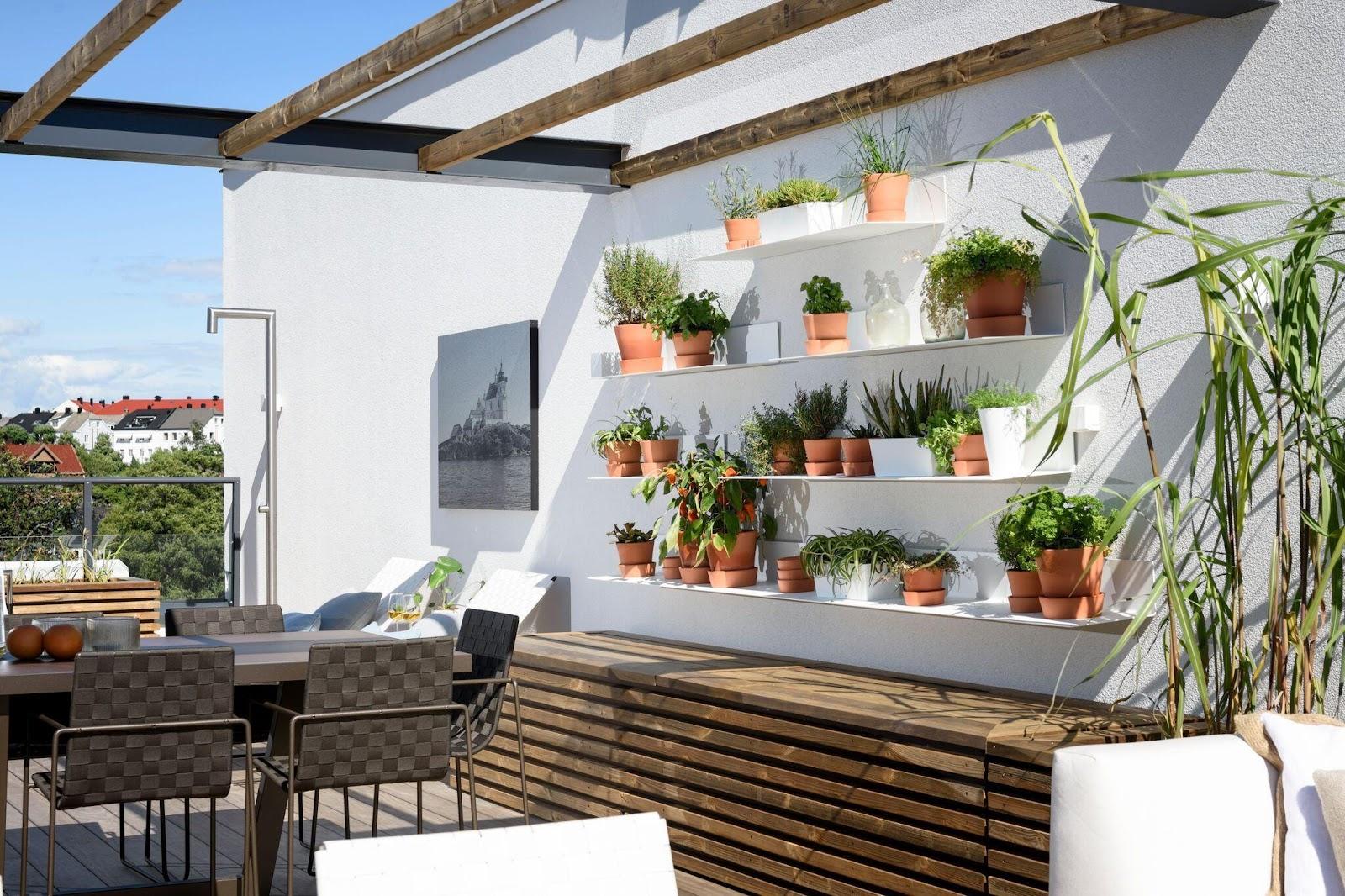 skapa liv på terrassen med gröna växter av olika storlekar