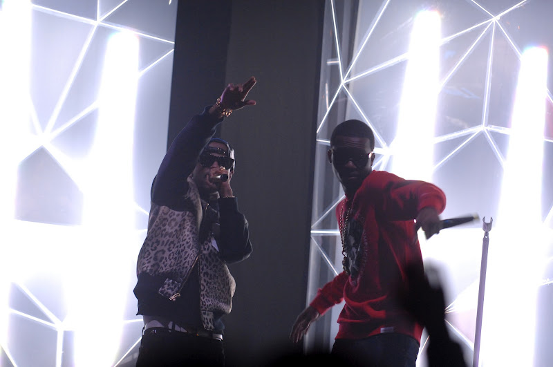 Photo: Trey Songz and Big Sean at the Pearl Concert Theater on February 18th, 2012.  Photo Credit: Bryan Steffy