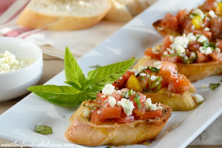 Bruschetta with Tomato, Basil and Gorgonzola