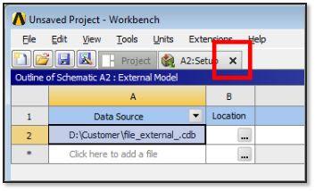 ANSYS - Закрытие окна компонента External Model