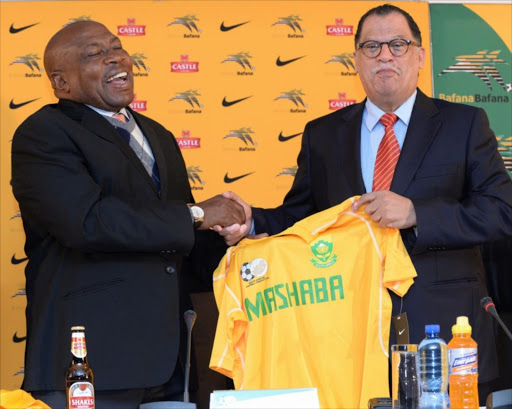 Bafana Coach Shakes Mashaba with Danny Jordaan during the SAFA press conference at SAFA House on August 08, 2014 in Johannesburg, South Africa. (Photo by Duif du Toit/Gallo Images)