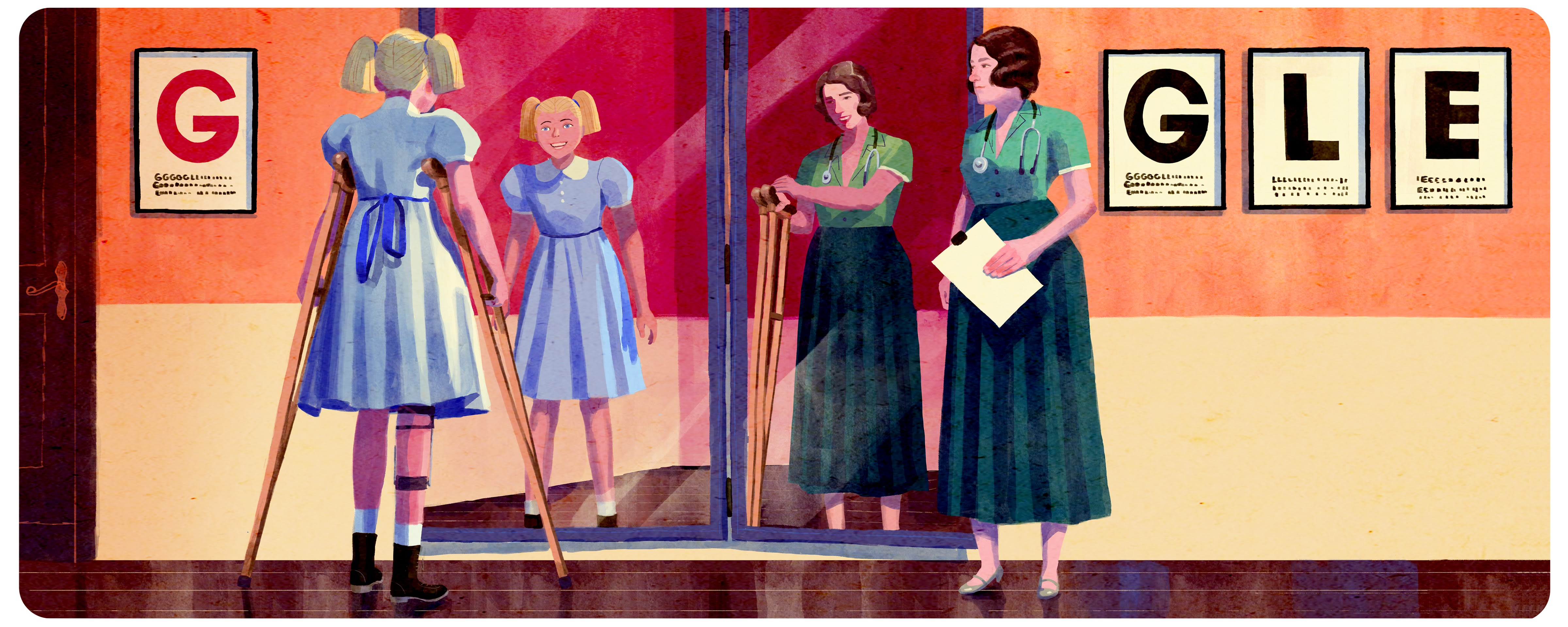 Illustrated Google Doodle for Dame Jean Macnamara's 121st birthday showing girl on crutches looking into a mirror where the crutches are invisible.