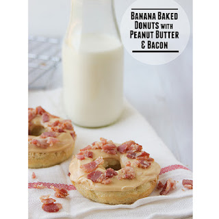 Banana Baked Donuts with Peanut Butter and Bacon {Elvis Donuts}.