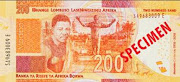 A mock-up of the new R200 note which will go into circulation next month.