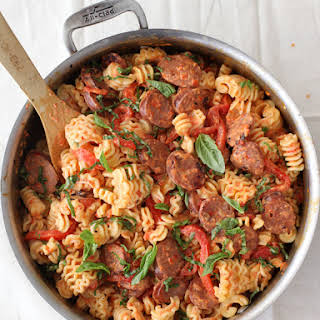 Creamy Roasted Red Pepper and Chicken Sausage Pasta.