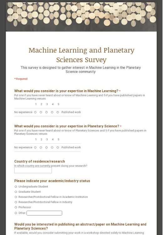 Machine Learning and Planetary Sciences Survey