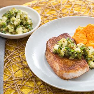 Spiced Pork Chops with Charred Poblano Salsa & Sweet Potato Mash Recipe