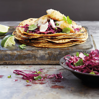 Catfish Tacos with Spicy Red Cabbage Slaw.