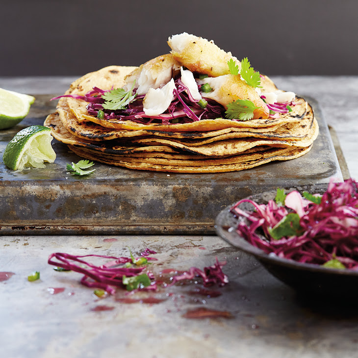 Catfish Tacos with Spicy Red Cabbage Slaw
