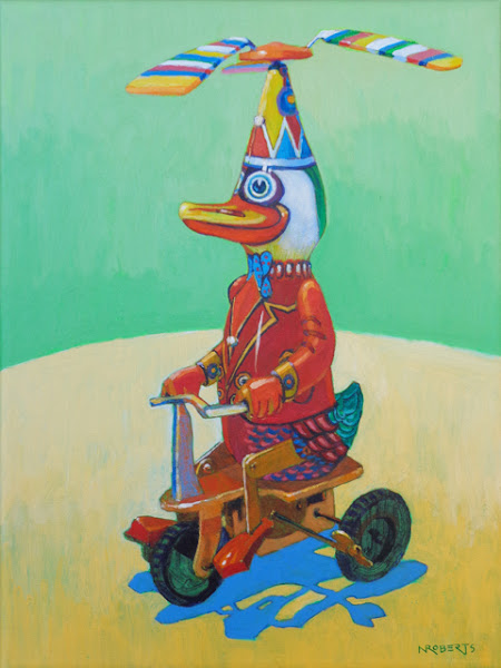 """Photo: """"Duck on a Bike"""", acrylic on canvas 12"""" x 9"""" by Nancy Roberts, copyright 2015. Private collection."""